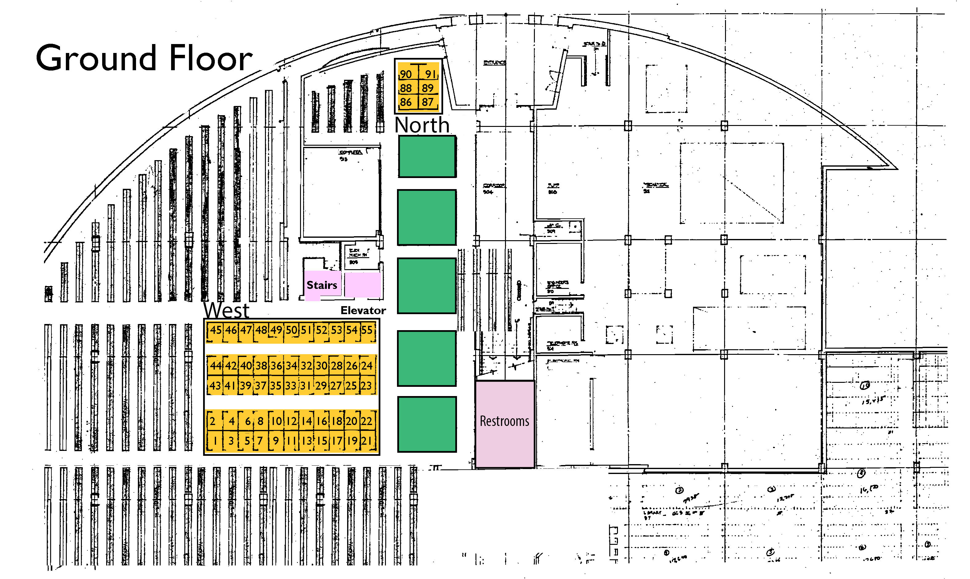 Map of Law Library ground floor student carrels