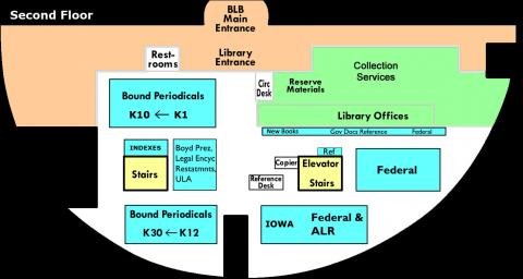 Second Floor Map of the Law Library