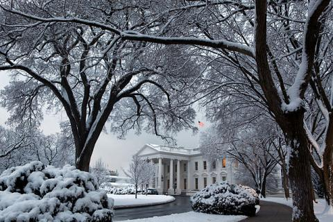 White House in Winter Snow