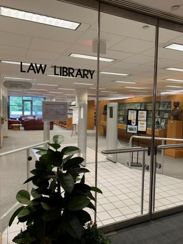Law Library entrance sign