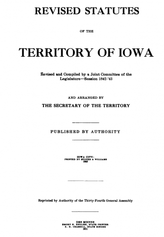 Revised Statutes of the Territory of Iowa Title Page