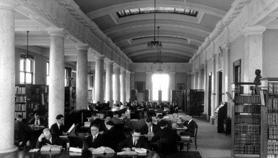 An image of the second University of Iowa Law Library in what is now Gilmore Hall (1924) (Frederick W. Kent Collection of Photographs, University Archives, Dept. of Special Collections, University of Iowa Libraries)