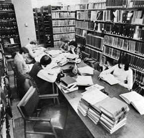 An image of students studying in the Law Library at the Iowa Law Center, 1979.