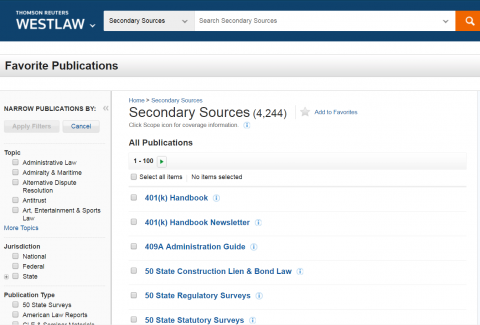 Westlaw Secondary Sources Screen
