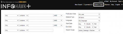InfoHawk+ Advanced Search Screen with Citation Linker