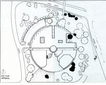 Architect's drawing of the Boyd Law Building site.